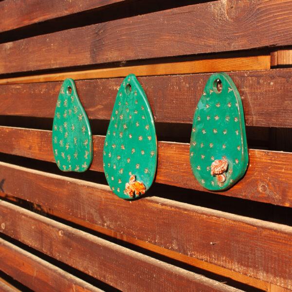 Керамическая Подвеска Лист кактуса с цветком №1