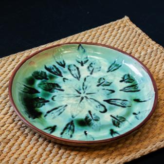 Тарелка круглая керамика Павлинье перо D 230