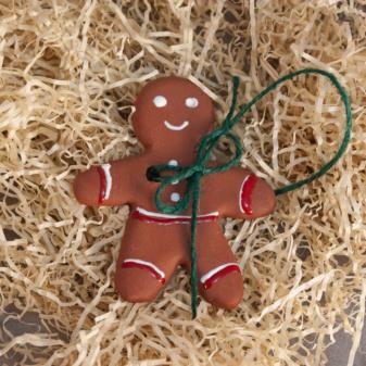 Подвеска-елочная игрушка Пряничный человечек керамический
