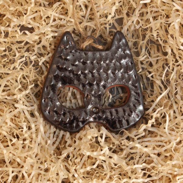 Керамическая Подвеска-елочная игрушка Маска кошечка-2