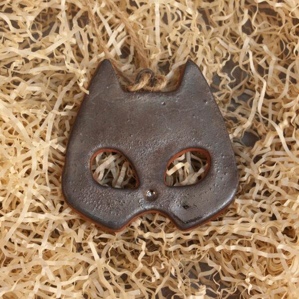 Керамическая Подвеска-елочная игрушка Маска кошечка-3