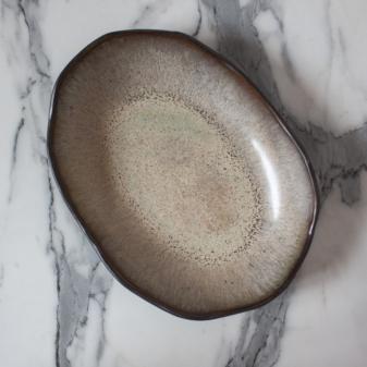 Терракотовый Салатник овальный Этно Макадамия