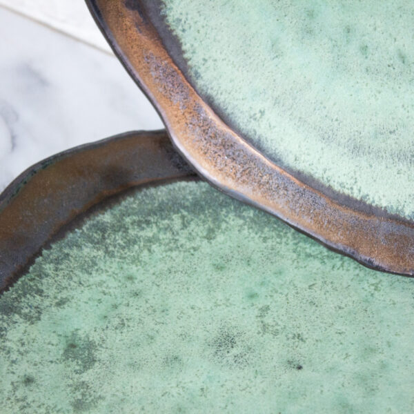 Зеленая Тарелка круглая из керамики Этно Венеция