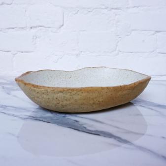 Салатник овальный из керамики Этно White Hawaii