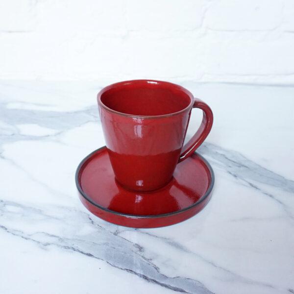 Чашка с блюдцем из керамики Кантри Red